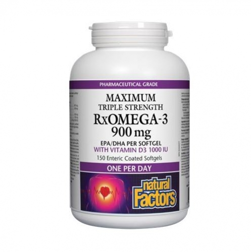 Natural Factors 내추럴 팩터스 - RxOmega-3 with Vitamin D3 Maximum Triple Strength (오메가3/비타민D3 보충제) 900mg 150ec sgles