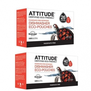 ATTITUDE - Dishwasher Eco-Pouches Phosphate-Free (40 Pouches) 친환경 식기세척제 40개