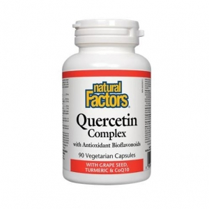 Natural Factors 내추럴 팩터스 - Quercetin Complex with Grape Seed, Turmeric/CoQ10 (염증, 심혈관질환, 당뇨병 보조제) 90vcaps