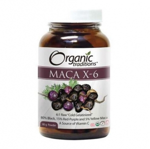 Organic Traditions -BLACK & PURPLE MACA X-6 POWDER (Jar)  - 올가닉 트레디션 -  검은&보라 마카 X6 가루 (병) - 80g